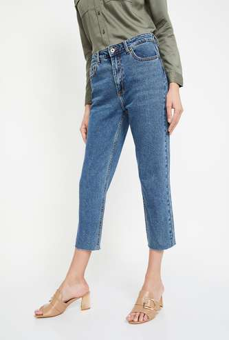 ONLY Solid Straight Fit Cropped Jeans