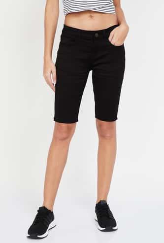 JEALOUS 21 Solid 5-Pocket Denim Shorts