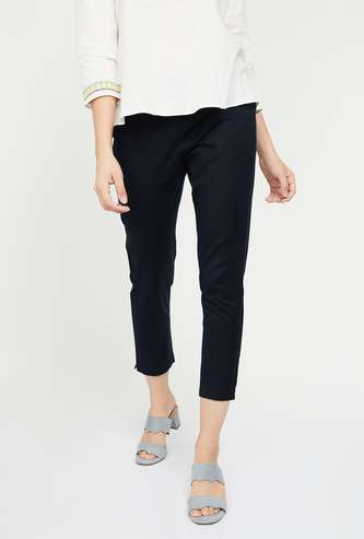 W Solid Cropped Trousers
