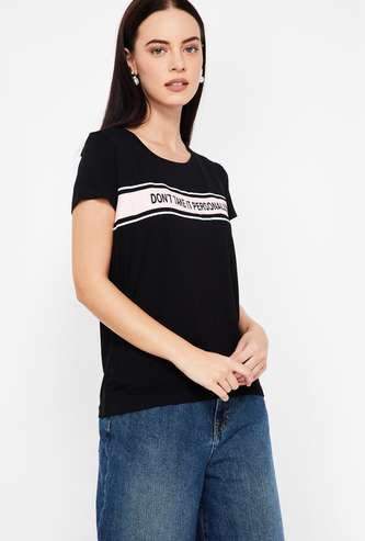 FAME FOREVER Typographic Print Round Neck Regular Fit T-shirt