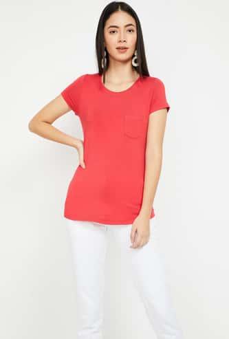 FAME FOREVER Solid Round Neck Regular Fit T-shirt