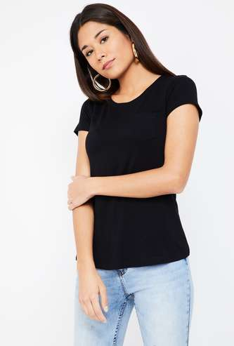 FAME FOREVER Solid Round Neck T-shirt