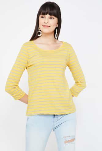 FAME FOREVER Striped Regular Fit Round Neck T-shirt