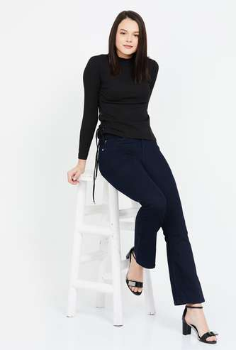 ONLY Solid Mid Rise Flared Jeans