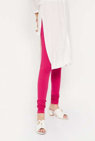 BIBA Solid Cotton Stretch Leggings