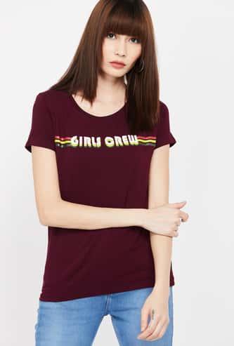 FAME FOREVER Printed Round Neck Regular Fit T-shirt