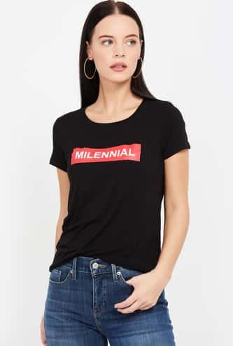 FAME FOREVER Printed Regular Fit Round Neck T-shirt