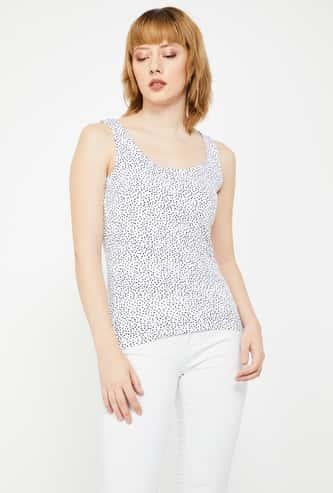 CODE Printed Slim Fit Sleeveless Top