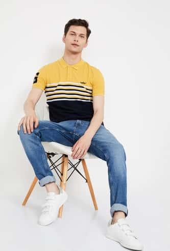 CELIO Colourblocked Slim Fit Polo T-shirt