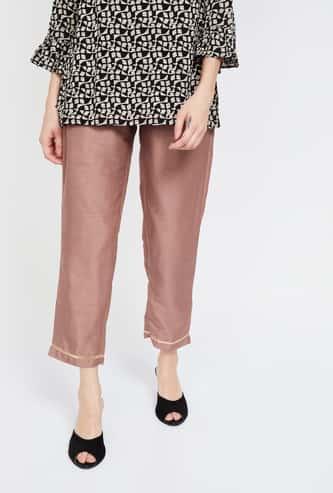 INDYA Solid Straight Pants