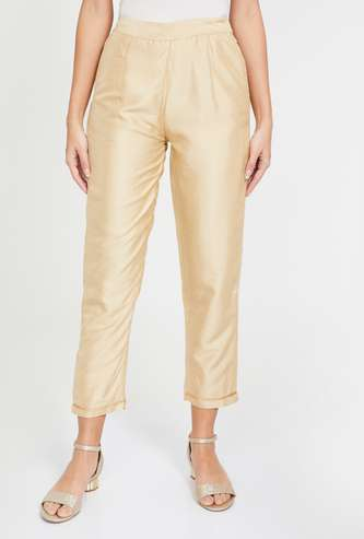 INDYA Solid Tapered Cropped Pants