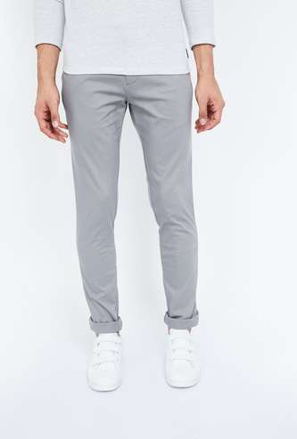 INDIAN TERRAIN Solid Slim Fit Casual Trousers