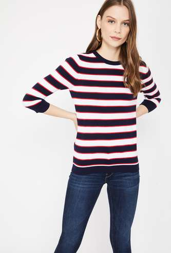 LEVI's Striped Full Sleeves Knitted Regular Fit Top