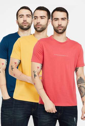 FAHRENHEIT Solid Slim Fit Crew Neck T-shirts - Pack of 3