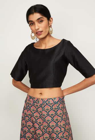 DE MOZA Women Textured Ethnic Crop Top