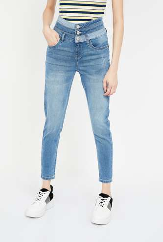 JEALOUS 21 Lightly Washed High-Rise Skinny Cropped Jeans