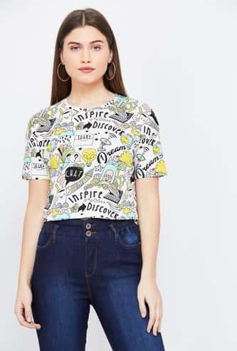 GINGER Doodle Print Regular Fit T-shirt