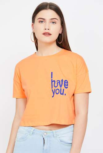 GINGER Printed Cropped Round Neck T-shirt