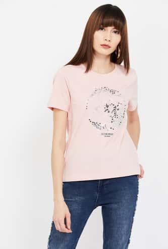 GINGER Printed Sequinned Regular Fit T-shirt