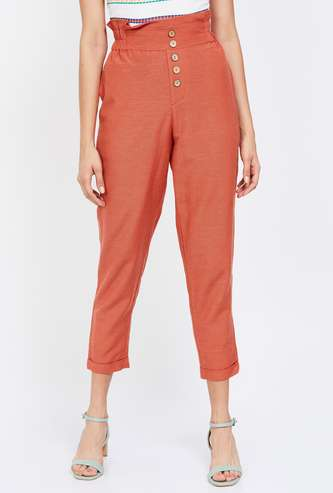 GINGER Solid Regular Fit Pants with Insert Pockets