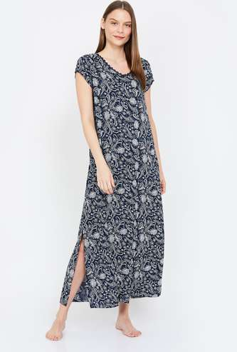 GINGER Printed Round Neck Night Gown