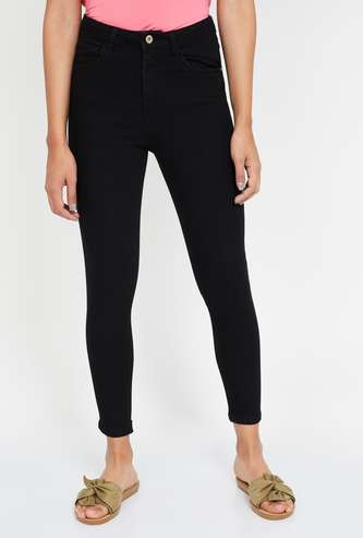 GINGER Solid Skinny Cropped Jeans