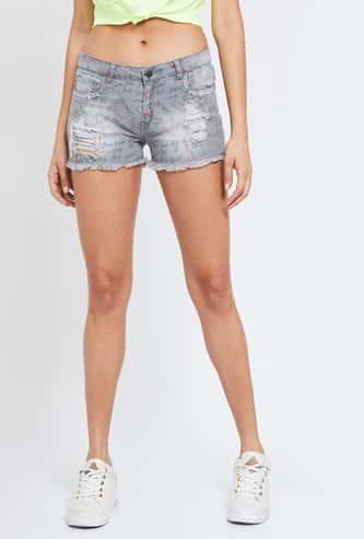 GINGER Printed Slim Fit Denim Shorts