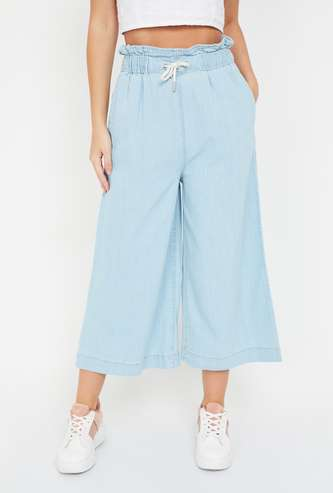 GINGER Solid Elasticated Relaxed Fit Palazzos