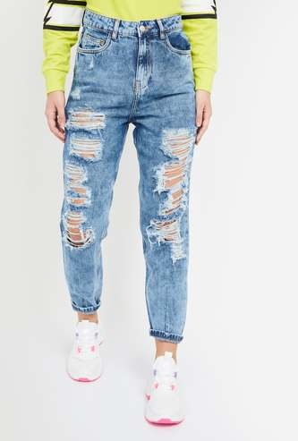 GINGER Distressed Straight Fit Jeans