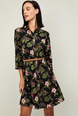 BOSSINI Women Printed Shirt Dress with Braided Belt