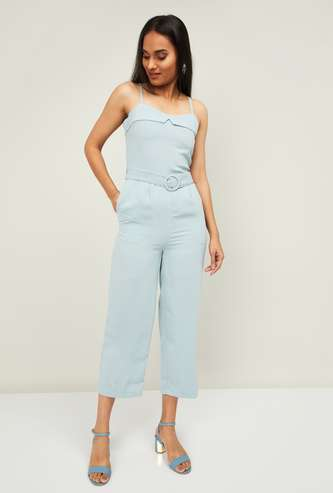GINGER Women Solid Cropped Jumpsuit