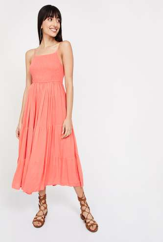 GINGER Solid Midi Dress with Spaghetti Straps