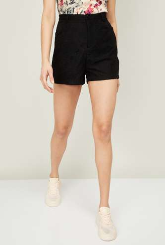 GINGER Women Textured Casual Shorts