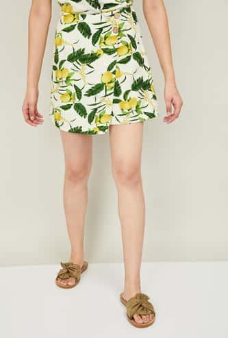 GINGER Women Botanical Print Wrap Skirt