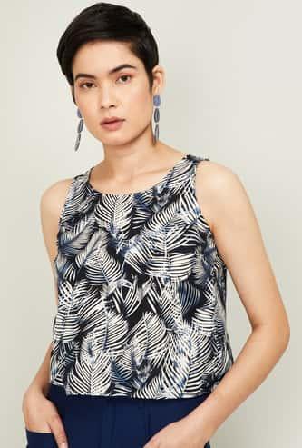 GINGER Women Tropical Print Sleeveless Top