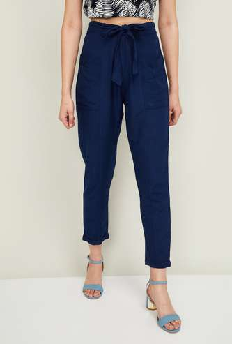 GINGER Women Solid Elasticated Trousers