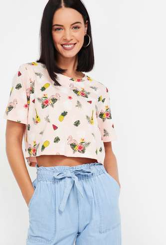 GINGER Printed Round Neck Cop Top