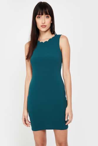 GINGER Solid Sleeveless Bodycon Dress