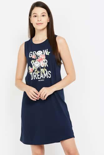 GINGER Women Graphic Print Sleeveless Night Dress