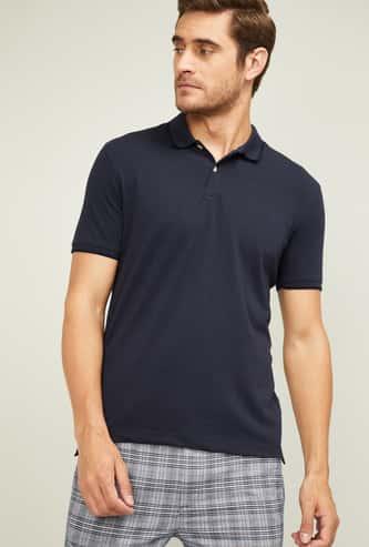 CODE Men Solid Regular Fit Polo T-shirt