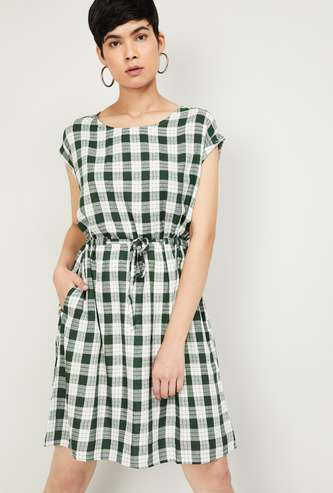 FAME FOREVER Women Checked Mini Dress with Extended Sleeves