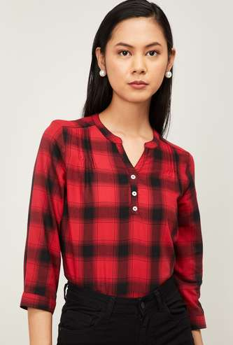 FAME FOREVER Women Checked Top