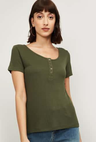 FAME FOREVER Women Textured Knit Henley T-shirt