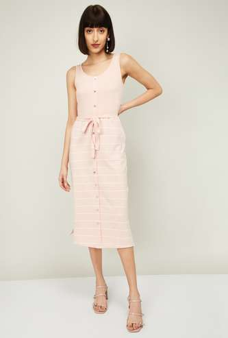 BOSSINI Women Striped Sleeveless Shift Dress with Sash Tie-Up