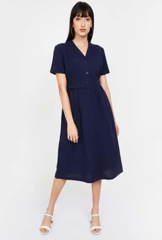BOSSINI Solid Shirt Sleeves A-line Dress
