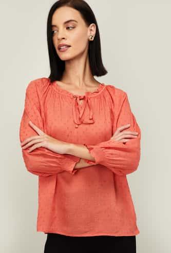 BOSSINI Women Textured Tie-Up Neck Top