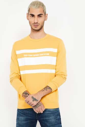 FAME FOREVER Typographic Print Crew-Neck Sweatshirt