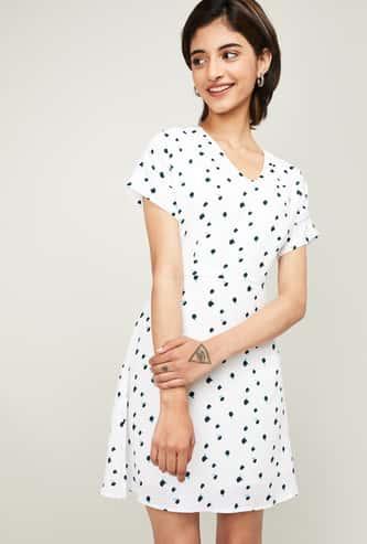 ALLEN SOLLY Women Printed Short Sleeves A-line Dress