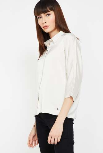 ALLEN SOLLY Solid Shirt with Three-Fourth Sleeves