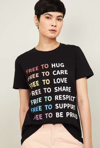 GINGER Women Typographic Print Short Sleeves T-shirt